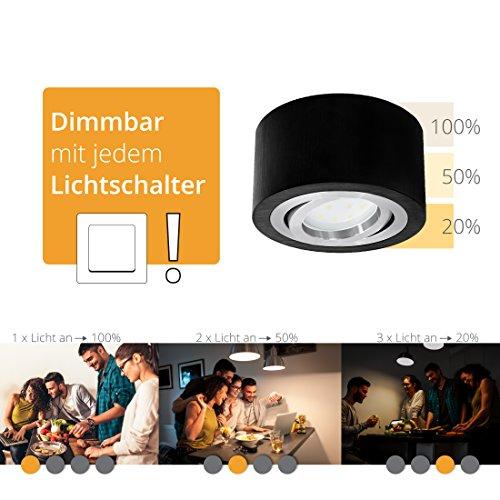 LED Aufputzleuchte schwarz, rund & schwenkbar inkl. fourSTEP LED Modul 4-Schritt-Dimmung (5W, warmweiß) - Dimmen ohne Dimmer