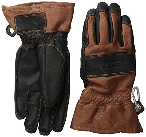 Hestra Mens and Womens Ski Gloves: Guide Leather Winter Gloves with Wool Lining, Brown/Black, 8
