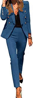Women's 2 Piece Suits Business Blazer Jacket Casual Shawl Collar Blazer,Slim-Fit Blazer+Trouser Suits Ladies Solid Color F...