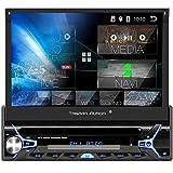 Tristan Auron BT1D7022A Android 10 Autoradio I 7'' Touchscreen ausfahrbar I CD DVD GPS Navi 32GB Bluetooth Freisprecheinrichtung I USB SD OBD DAB+ 1 DIN