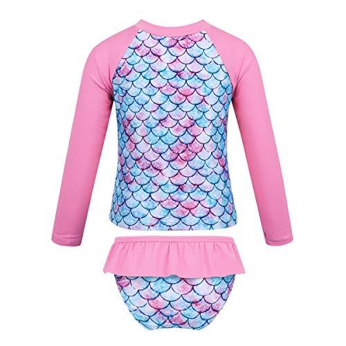 Aislor Kids Baby Girls Mermaid Bikini Set Fish Scales Printed Swimwear Long Sleeves Tankini Tops with Bottoms Pink 5-6 Years