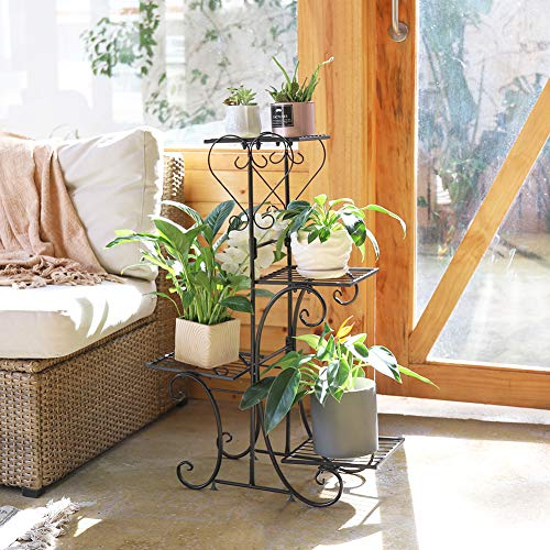 フラワースタンドフラワーラックアイアン花台鉢植えスタンド植物棚園芸ラック植木鉢スタンド3段/4段屋外/室内盆栽棚アンティーク(ブラック)