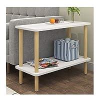家具装飾リビングルームエンドテーブルウッドエンドテーブルモダンコーヒーテーブル2層シンプルなデザインリビングルームバルコニー用サイドテーブル簡単な組み立て80X30X53CMベッドサイドテーブル(色:ナチュラル)