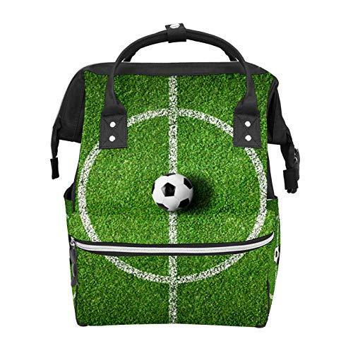 Campo de fútbol verde hierba pañal bolsas de mano momia gran capacidad multifunción mochila para viajes