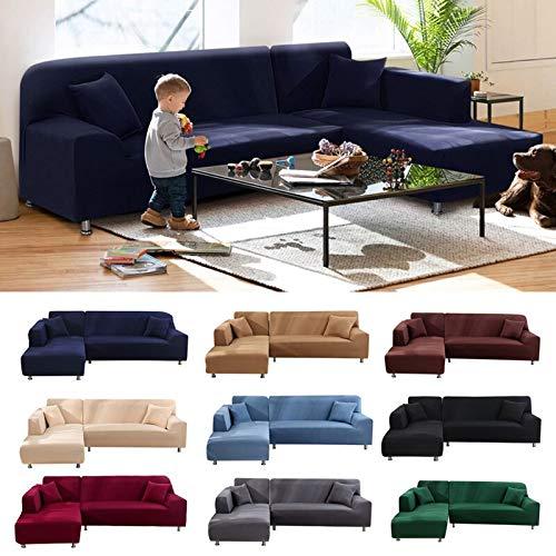 ABUKJM - Copridivano a forma di L con chaise longue, per divano ad angolo, in poliestere elasticizzato, protezione per divano, bianco, Part A-A 195-230cm