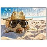 A4 XXL Ruhestandskarte HUND AM STRAND mit Umschlag - Abschiedskarte zur Rente Pension Ruhestand...