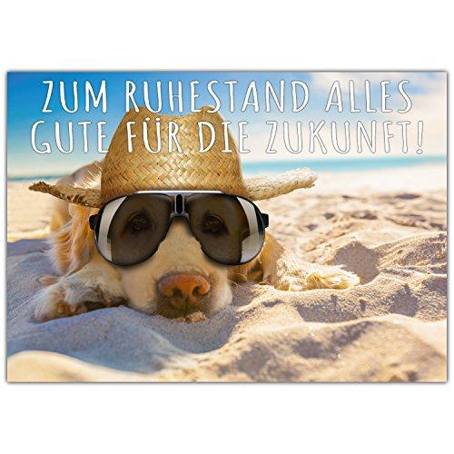 A4 XXL Ruhestandskarte HUND AM STRAND mit Umschlag - Abschiedskarte zur Rente Pension Ruhestand Karte für Kollegen Mitarbeiter Chef von BREITENWERK