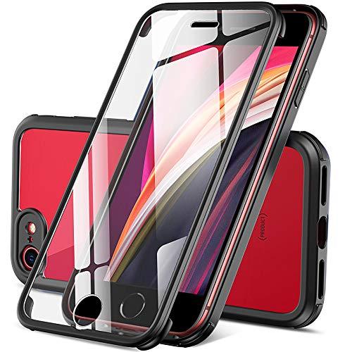 Dosnto Funda Transparente para iPhone SE 2020/8/7 (4.7'') Carcasa 360 Grados Protección con Protector de Pantalla Incorporado, [Protección contra Caídas Reforzada] [Militar Antichoque], Negro