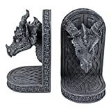 Design Toscano CL2649 Grey Friar Dragon Gothic Statue Book Ends, 7 Inch, Set of Two, Polyresin, Grey Stone