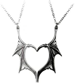 Wing Necklace for Women Men Charm Matching Demon Dragon Wing Love Heart Pendant Necklace Couple Family Friendship Necklace...
