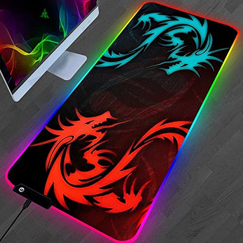 Mouse Pads Anime Red Dragon Blue Dragon Art Large RGB Gaming Mouse Pad XXL LED Mouse Pad with Stitched Edge for Keyboard Pad-300X600mm