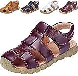 DADAWEN Boy's Girl's Leather Closed Toe Outdoor Sport Sandals (Toddler/Little Kid/Big Kid) Brown US Size 1 M Little Kid