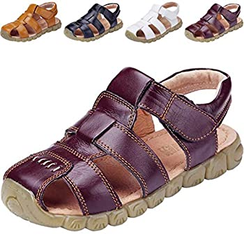 DADAWEN Boy s Girl s Leather Closed Toe Outdoor Sport Sandals  Toddler/Little Kid/Big Kid  Brown US Size 13 M Little Kid