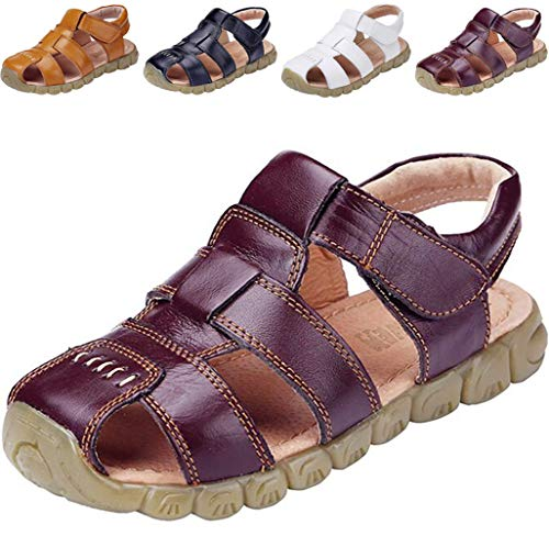DADAWEN Boy's Girl's Leather Closed Toe Outdoor Sandal (Toddler/Little Kid/Big Kid) Brown US Size 9.5 M Toddler