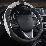 Pahajim Funda de Piel sintética para Volante de Coche, Microfibra Suave Confortable Protector del Volante del coche Universal 38cm
