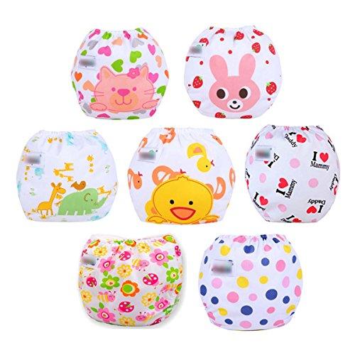 Fygood–Juego de 7 bragas de pañal de aprendizaje, lavables, de algodón ajustable, 7colores, 35x 27cm, para bebés de 3-11kg Set C Talla:Couche intérieur: Coton
