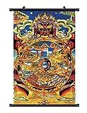 WholesaleSarong Wheel of Life Tibetan thangka Cloth Fabric Poster Wall Hanging Scroll 24 x 16 inch