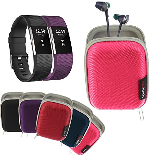Navitech Pink Hard Carry/Storage Case Compatible with The Fitbit Charge 2 with Pouch Compatible with The Fitbit Flyer Wireless Headphones