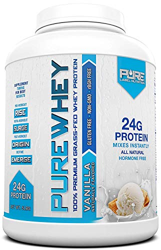 Pure Label Nutrition Whey Protein Concentrate, 100% Natural Grass Fed Vanilla Protein Powder,...