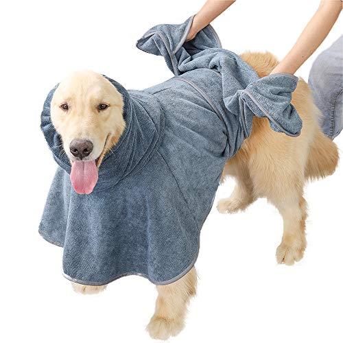 【DogLemi】ペット用バスローブ 犬用バスタオル 速乾ペットローブ 超吸水 お風呂上がり 犬用ガウン 吸収速乾タオル バスポンチョ 体拭き マイクロファイバー 柔らかくあったか 防寒 (M)