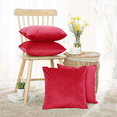 Deconovo Set of 4 Pillow Cases Crushed Velvet Cushion Covers Throw Pillow Cases Pillowcases for Sofa Seats with Invisible Zipper Red 45x45cm