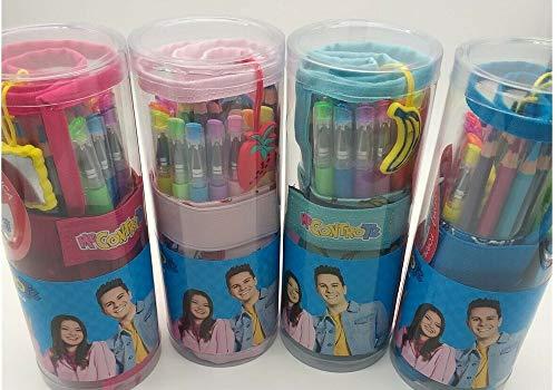 Me Contro Te Astuccio a Rotolo con 1 matita con Charm - 12 Pastelli Colorati - 6 penne Glitter 6 penne Fluo
