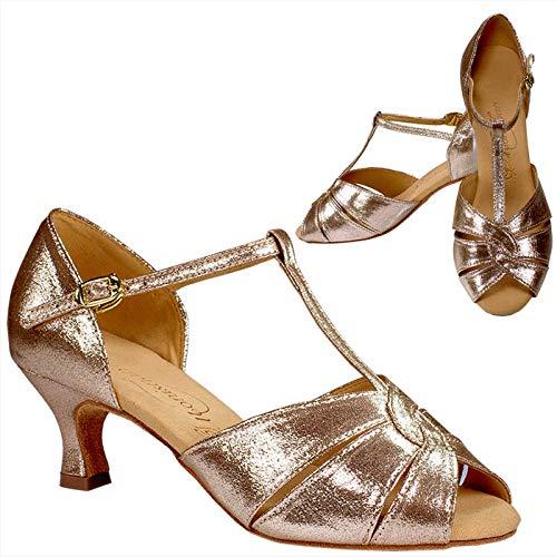 [モニシャン] FL316SJ 社交ダンスシューズ 女性兼用 スパークリングジンジャー/グリッター生地 サイズ:23.0cm 横幅:R ヒール高:55mm