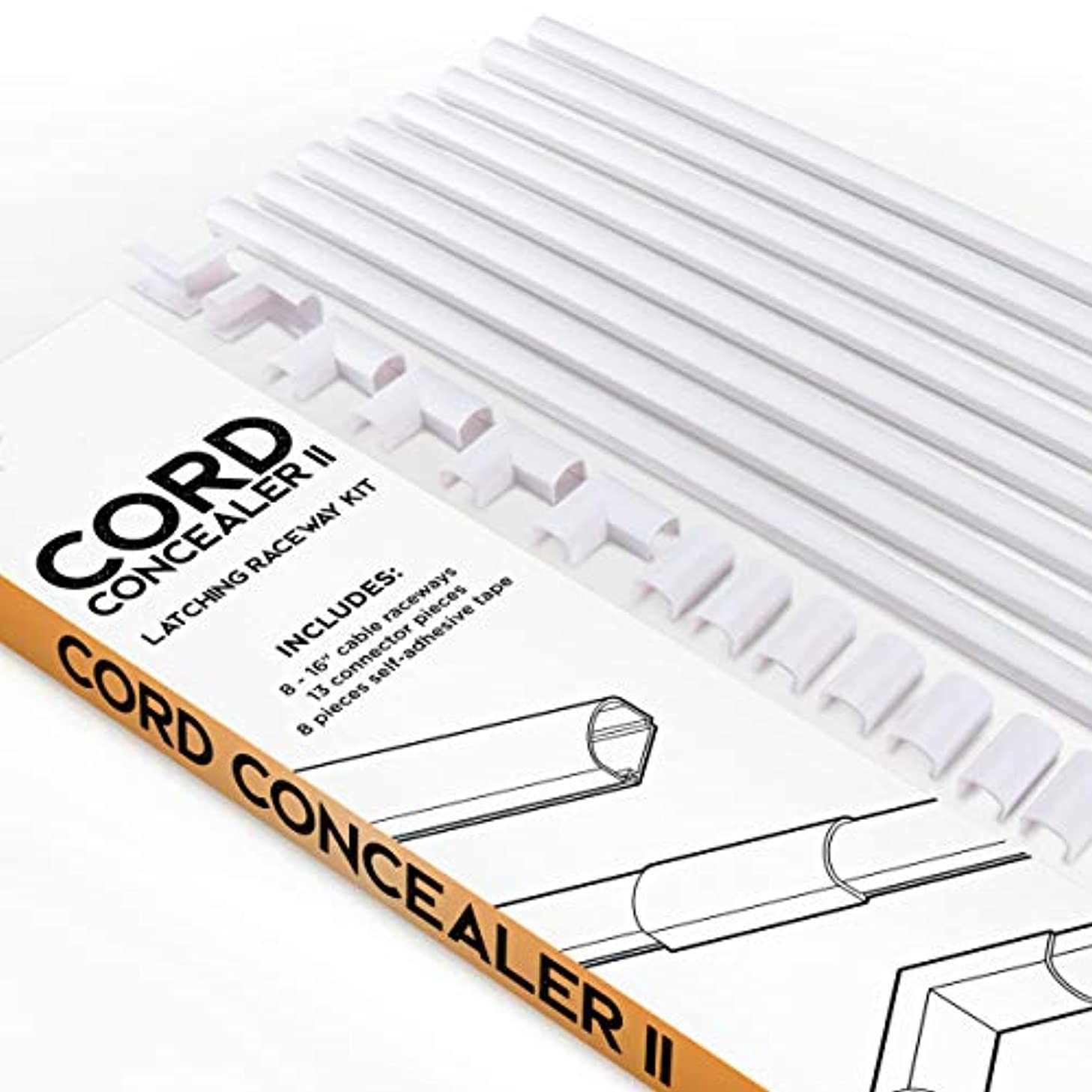 Cord Concealer II One-Cord Raceway Kit - SimpleCord Cable Cover fits 1 Cord - 128