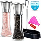 Salt and Pepper mills, Amison Stainless Steel Salt and Pepper Grinder Mill Set - 5 Grade Precision Adjustable Ceramic Rotor with Free Funnel (With Stand)