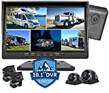 10.1 inch 1080P Backup Camera Monitor & Built-in 128GB DVR Video Sound Recorder for RV Truck Trailer Rear Side Front Reversing View Wired System Image 5 Split Large Screen Waterproof Avoid Blind Spot