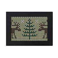 クリスマスツリーの茶色のヘラジカのニットパターン デスクトップフォトフレーム画像ブラックは、芸術絵画7 x 9インチ