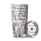 Unicorn - Vasos de viaje de doble pared de acero inoxidable con tapa resistente a salpicaduras para trabajos al aire libre, color blanco 600 ml
