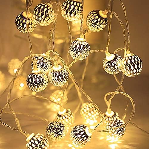 *ALSTER HERZ* orientalische LED Lichterkette, marokkanische Kugeln in Gold,Lichterkette für Zimmer,Dekoration,10 oder 20 LED(warmweiß),batteriebetrieben
