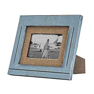 RiteSune 4x6 Picture Frames, Farmhouse Tabletop Display Frame, Wall Mound Photo Frame Made of Rustic Wood, Can be Hung Horizontally and Vertically(Blue)