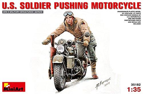 MiniArt 35182 - Modellbausatz US Soldier Pushing Motorcycle, grau