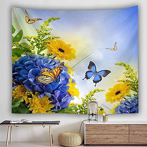 Paisaje natural tapiz de girasol colgante de pared cielo azul nube blanca tapiz tapiz de pared casa de campo tapiz psicodélico A4 180x230cm
