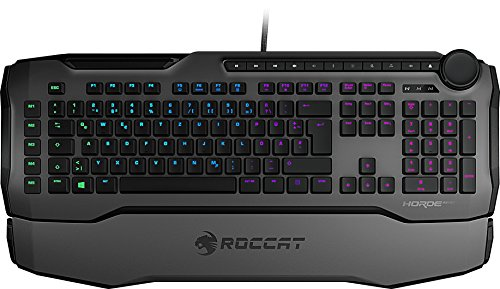 Roccat Horde AIMO Membranical RGB Gaming Tastatur (AIMO LED Beleuchtung, Präzisions-Tastenlayout, Quick-fire Makro-Tasten, konfigurierbares Tuning-Rad, USB), grau