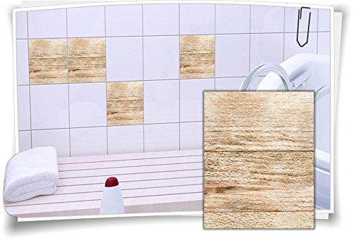 Medianlux Fliesenaufkleber Fliesen Aufkleber Holz Baum Kiefer Fichte Bad WC Küche Kachel Imitat Deko Holzimitat, 6 Stück, 15x20cm