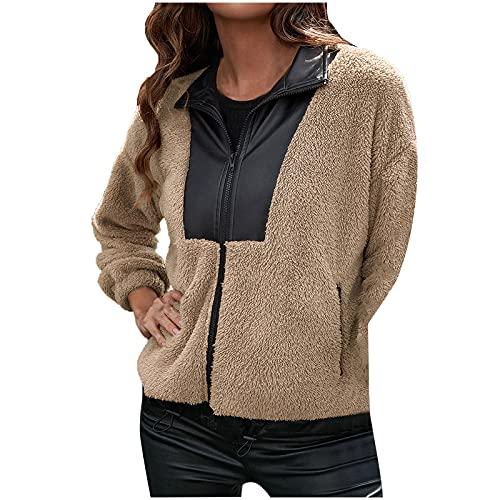 Wave166 Sudadera para mujer, de felpa, de invierno, para otoño e invierno, fina, a la moda, patchwork, con cremallera,...