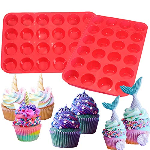 LaVenty 2 PCS Silicone Muffin Pan Cupcakes Baking Trays Cupcake Silicone Molds Cake Mold for Muffin Chocolate Baking Tools