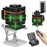 Kecheer Nivel láser 12 líneas,Nivelador laser autonivelante,Niveles laser verde 360 grados horizontal vertical con base giratoria con control remoto