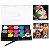 Xrten 15 Colores Pintura Facial y Corporal Pintura de Cara para Niños para Hallowen, Carnaval, Fiestas, Cumpleaños etc.