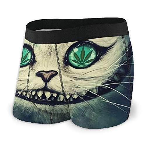 LAOLUCKY Herren Unterhose Psychedelic Cat Cannabis Weed Leaves Boxershorts für Jungen Jugendliche Polyester Spandex Komfort Gr. X-Large, Schwarz