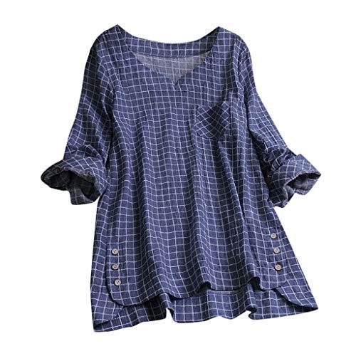 Zegeey Damen Kurzarm Oberteil T-Shirt Rundhals Ausschnitt Baumwolle Und Leinen Cat Drucken Asymmetrischer Saum Lose LäSsige Bluse Hemd Shirt Blusen Locker Basic Tops(A4-Marine,M)