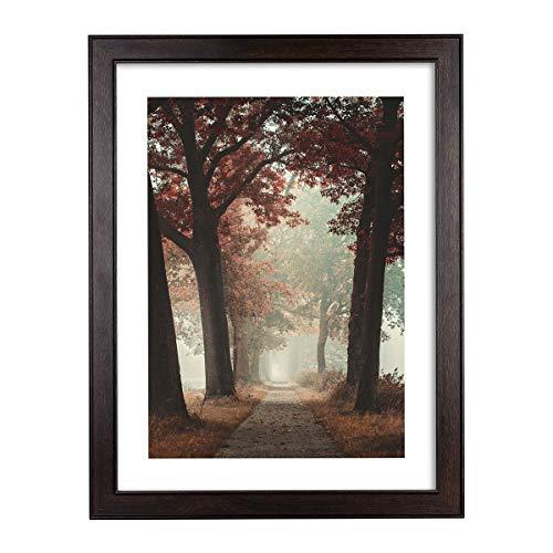 Metrekey Marco de madera para póster de 46 x 61 cm (18 x 24 pulgadas), marco de fotos marrón con plexiglás, para póster de arte, fotos familiares, fotos de graduación, fotos de boda