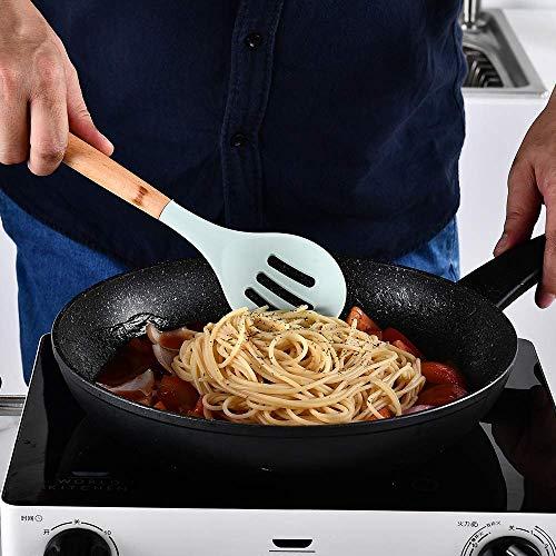 UniForU Lot de 11 ustensiles de cuisine en silicone avec poignées en bois naturel antiadhésif, spatule, cuillère, passoire, outil de cuisine - 5