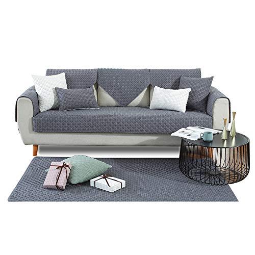 PETCUTE Sofabezüge Sofabezug Luxus Sofa Schutz aus Sofaschoner Sofaüberwurf für Ecksofas Anti-Rutsch Schonbezug Grau 110X180CM
