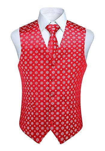 Enlision Herren Weihnachtsschneeflocken Weste Festlich Happy Red Weste Krawatte Pocket Square Taschentuch Weste Anzug Set XS-4XL Rot