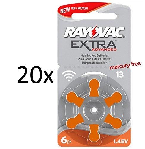 Rayovac, batteria per protesi acustiche, modello Extra Advanced Zinc Air 120x Typ 13 orange