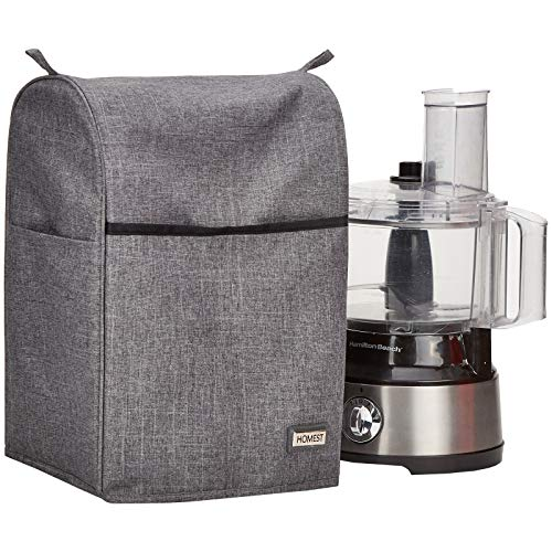 HOMEST Food Processor Dust Cover with Accessory Pockets Compatible with Hamilton Beach 8-10 Cup, Grey (Dust Cover Only)